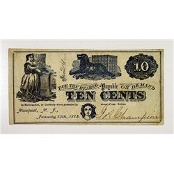 Jos.Champion. 1863 Obsolete Scrip Note.