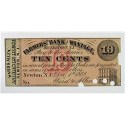 Farmers' Bank of Wantage, Ward & Allen (Anderson House), 1862 Obsolete Scrip Note.