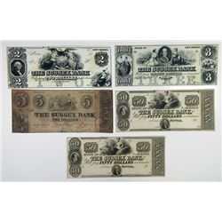 Sussex Bank. 1840-50's Obsolete Banknote Quintet.