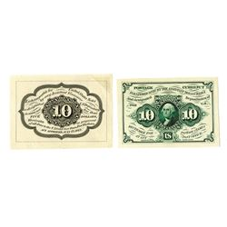 U.S. Fractional Currency, 1st Issue 10 cents Fr#1243, Front and Back Trimmed Large Margin Proof Pair