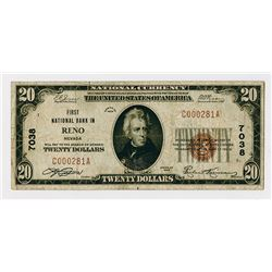 Reno, NV. First National Bank of Reno. $20 1929 T-1 CH#7038 National Banknote.