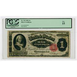 U.S. Silver Certificate, $1, 1891, Fr.223, PCGS Fine 15.