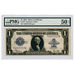 U.S. Silver Certificate Error Note, $1. Series of 1923, Fr-237, Speelman-White Sigs, PMG AU 50 EPQ.
