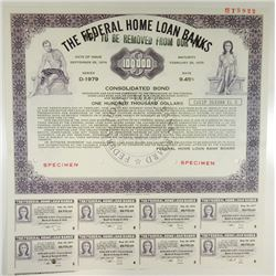 Federal Home Loan Banks, 1974 Specimen Coupon Bond
