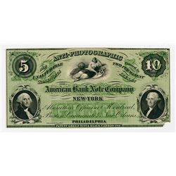 American Bank Note Co., 1859-61 Anti-Photographic Advertising Note Proof.