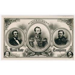 American Bank Note Company, ca.1860's advertising sheet with Grant, Lincoln and other military gentl