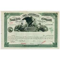 American Bank Note Company, Consolidated Agreement 1904 Specimen Stock Certificate.