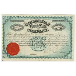Columbian Bank Note Co. 1880 I/U Stock certificate