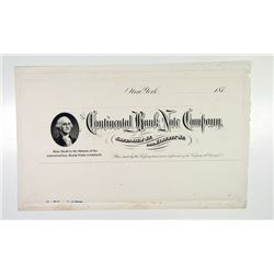 Continental Bank Note Company, 187x Proof letterhead or Billhead.