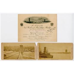 New York & Brooklyn Bridge opening invitation, 1883.