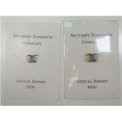 Security Bank Note Company Mockup Proof 1950 Annual Report Cover with Original artwork and Final Pro