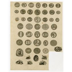 Fairman, Draper, Underwood & Company Proof Sheet of Obsolete Banknote Numeral Counters with a Few Vi