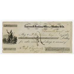 Express & Banking Office of Rhodes & Co. 1855 Weaverville Gold Rush Era Draft.