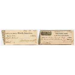 Classic Check Pair, 1807 Bank of North America and 1829 Schuylkill Bank Signed by William Meridith.