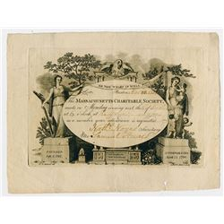 Massachusetts Charitable Society, 1805 Invitation to Meeting Certificate.