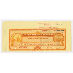 Wells Fargo & Co., ND ca.1900-10, Specimen Traveler's Check.