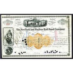 New York and Harlem Rail Road Co., Issued Stock Certificate With William H. Vanderbilt Signature.