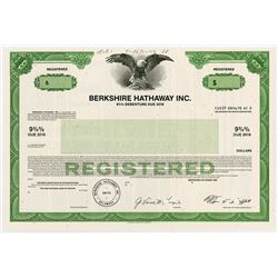 Berkshire Hathaway Inc. 1973 (1988) Specimen Registered Bond with Warren Buffet Facsimile Signature.
