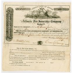 Atlantic Fire Insurance Co., 1851 Stock Certificate