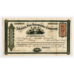 Atlantic Fire Insurance Co., 1864 Stock Certificate