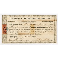 Security Life Insurance and Annuity Co., 1867 Stock Certificate