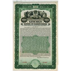 Lincoln Telephone and Telegraph Co., 1916 Specimen Bond