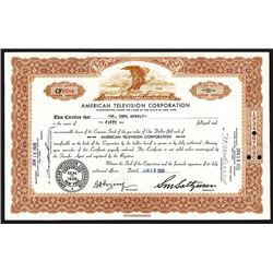 American Television Corp., 1939 Issued Stock Certificate