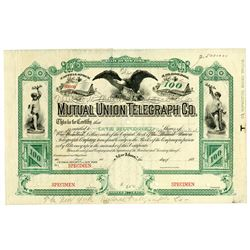 Mutual Union Telegraph Co. Used as Model for NY Mutual Telegraph, 1880's Specimen Stock Certificate.
