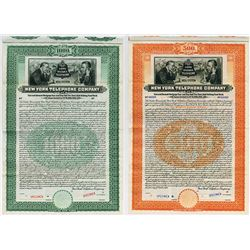 New York Telephone Co. 1909 Specimen Bond Pair