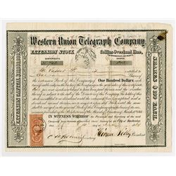 Western Union Telegraph Co., Extension Stock - Collins Overland Line, 1964 Issued Stock Certificate