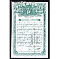 British-American Tobacco Co. Ltd. 1920 Specimen Fractional Stock Certificate.