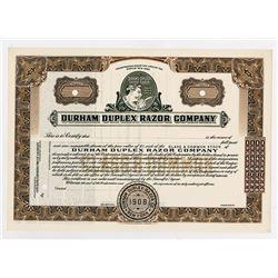 Durham Duplex Razor Co. 1908 Specimen Stock Certificate.