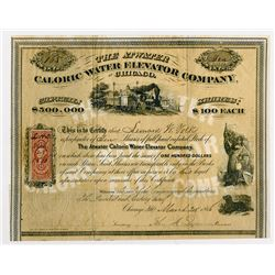 Atwater Caloric Water Elevator Co. of Chicago, 1866 Stock certificate.