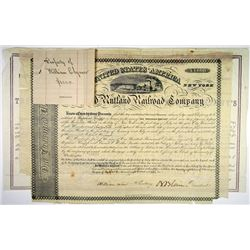 Troy, Salem and Rutland Railroad Co., 1865 I/C Bond Signed by Jay Gould as President and on Back.