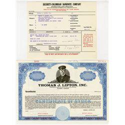 Thomas J. Lipton, Inc., 1964 Specimen Stock Certificate