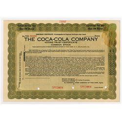 Coca-Cola Company, Voting Trust Certificate 1919 Specimen Temporary Stock Certificate.