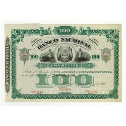 Banco Nacional, 1877 Specimen Stock Certificate.