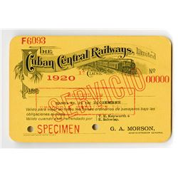 Cuban Central Railways, Limited Specimen Railroad Pass.