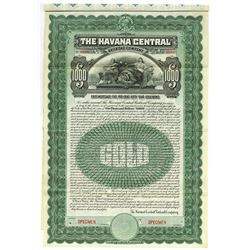 Havana Central Railroad Co. 1905 Specimen Bond.