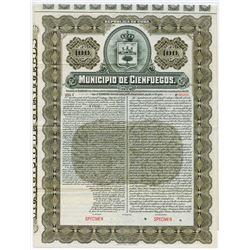 Municipio de Cienfugos, 1906 Specimen Bond