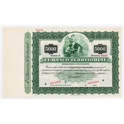 El Banco Territorial, ca.1900-1920 Specimen Bond