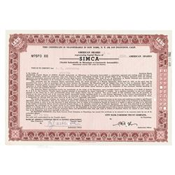 SIMCA, 1959 Cancelled Stock Certificate