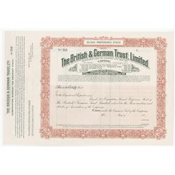 British & German Trust, Ltd., 1927 Specimen Stock Certificate