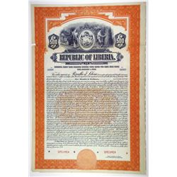Republic of Liberia, 1926 Specimen Bond