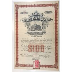 Banco de Durango, S.QA., 1904 I/U Stock Certificate.