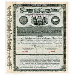 Banco de Nueva Leon, S.A. 1900 Specimen Bond.