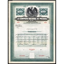 La Compania Nacional de Predios, S.A. 1906 Specimen Bond.