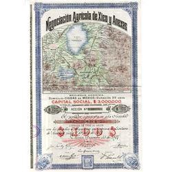 Negociacion Agricola de Xico y Anexas, 1897 I/U Share Certificate.