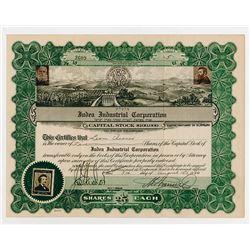 Judea Industrial Corp. 1926 Stock Certificate.