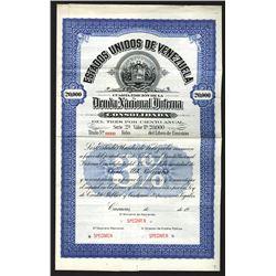 Estados Unidos de Venezuela - Dueda Nacional Interna, 1900-1920 Specimen Bond.